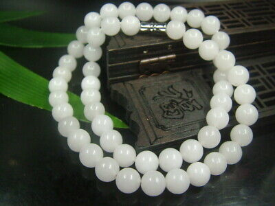 Antique Chinese Nephrite Celadon-HETIAN- White Jade 8mm Beads Necklace Pendant