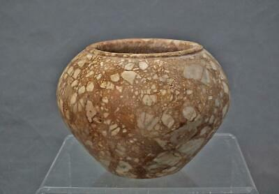 Ancient Egyptian Breccia Stone Vessel Predynastic Period 3500-3000 B.C.