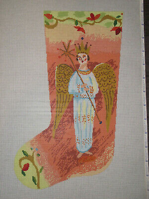$281 Donna Ingemanson Handpainted Needlepoint Canvas Stocking Heavenly Angel