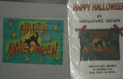 Renaissance Handpainted Needlepoint Canvas Happy Halloween Stitch Guide Fibers