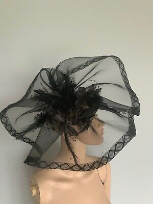 Extra Large Black Statement Clip Fascinator Wedding Ladies Day Accessories