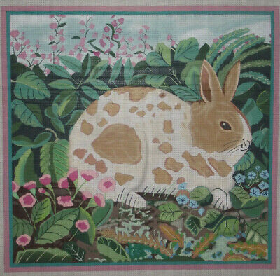 "15"" Square Handpainted Needlepoint Canvas By Miriam Andrade   Bunny Rabbit Hp Np"