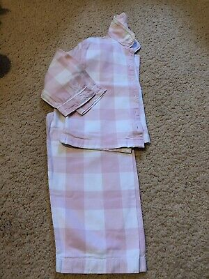Girls The Little White Company Pink And White Checked Pyjama Set Aged 2-3 Years