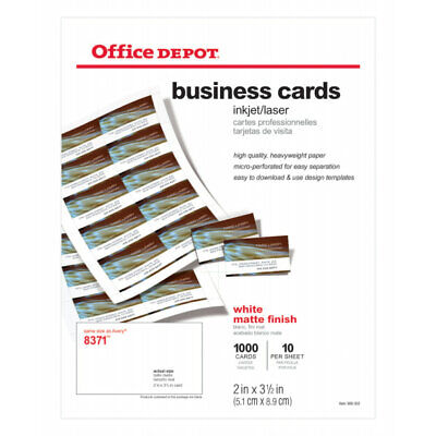 """Office Depot Brand Matte Business Cards, 2"""" x 3 1/2"""", White, Pack Of 1,000"""