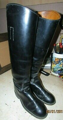 Vtg Made In The Usa Equestrian Horse Riding Black Knee High Boots Size