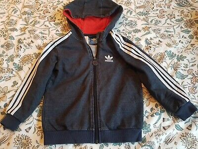 Adidas Blue Marl Hoody Age 3-4 Good Condition