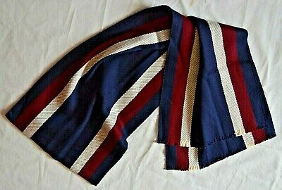 T.M.Lewin Smart Extra Fine Merino Wool Navy/Beige/Red College Stripe Scarf