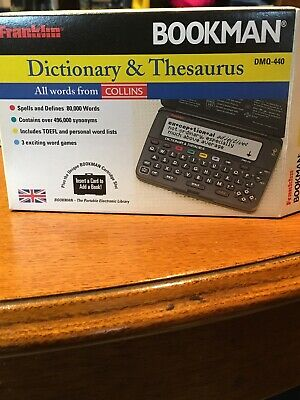 Franklin Bookman DMQ-440 Dictionary @ Thesaurus box & instructions see details .