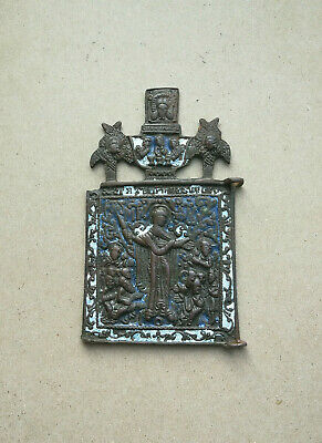 Authentic Medieval Enamel Bronze Icon With Mother Mary And Saints Very Rare