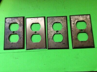 4 Antique Salvage Solid Brass Double Electrical Outlet Cover Plates