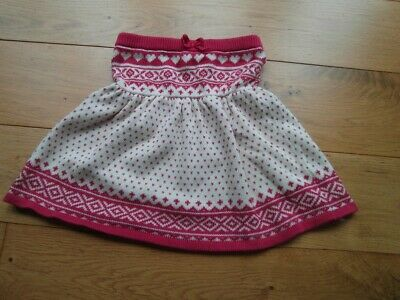 Girls used Gap knitted pink & white skirt age 5 years - elasticated waist