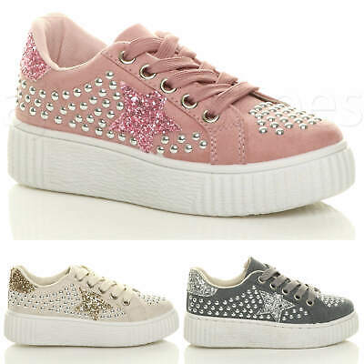 Girls Kids Childrens Flatform Star Studded Party Trainers Pumps Shoes Size