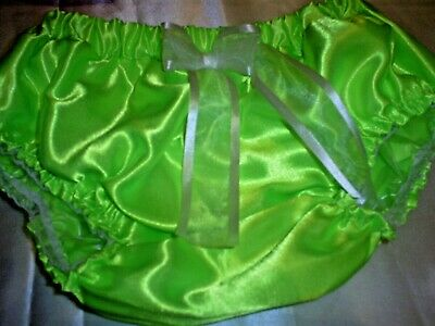 """Adult Baby Sissy Panties Lime Green  Satin Plastic Lined Very Noisy 38"""""""