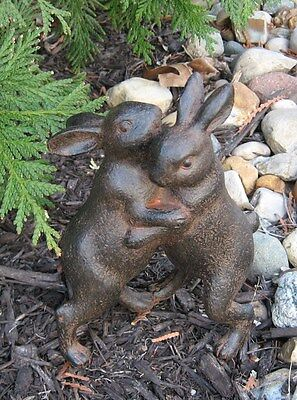 Hugging BUNNY Rabbits Sculpture*Primitive Home/French Country Farmhouse Decor