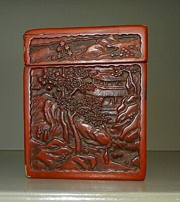 Antique Chinese Carved Cinnabar Tea Caddie / Box - Free Shipping