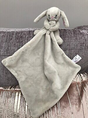 Next Grey Bunny Rabbit Baby Comforter Blankie Soother Soft Toy Pink Floral Ears