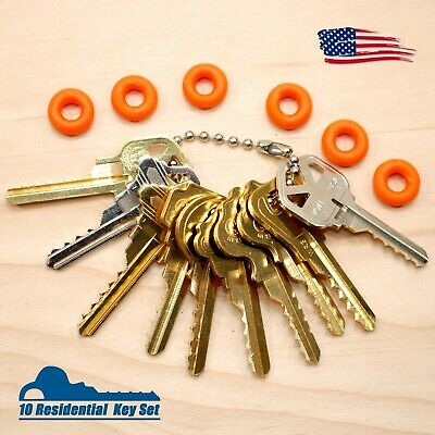 Cut Key Set of 10 with 6 rubber rings, lockout, locksmith, Space