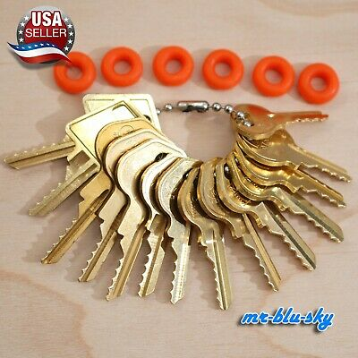 Cut Key Set of 14 (Padlock) with 6 Rubber Rings, Lockout, Locksmith