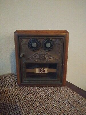 Antique Vintage Double Dial oak. Brass Post Office Door Mail Box Postal Bank