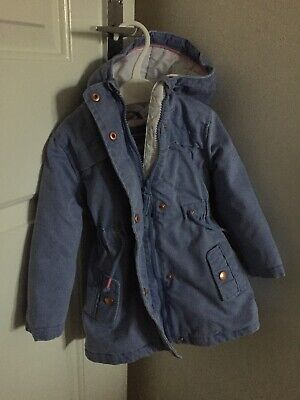 Cute M&S Baby Girls Spring Warm Jacket Chambray Rose Gold Buttons Age 12-18 M
