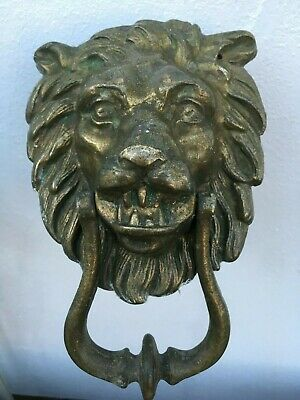 Antique Victorian Solid Cast Brass Lion Head Door Knocker Patina Large Heavy