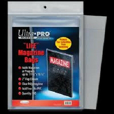 100 Ultra Pro Life Magazine Size Storage Bags and Boards New