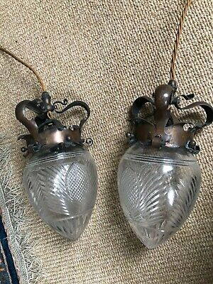Pair of Arts and crafts  copper/glass pendants