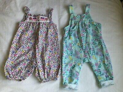 2 All In One Outfits Jojo maman bebe Babygros Blue Zoo Floral Pattern Age 3-6 M
