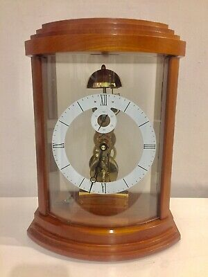 Vintage Kieninger Cherry Wood Cased Regulator Skeleton Clock.