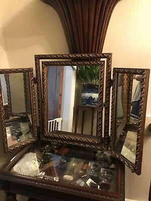 Antique Gilt Wood And Plaster French Triple Mirror