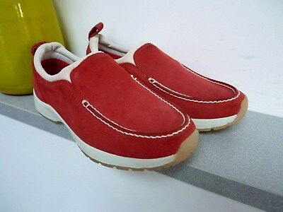 Ladies Lovely Cotton Traders Red Suede Look Slip On Shoe Size 4, Vgc