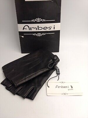 Woman's Black Ambesi Driving Gloves Size Large