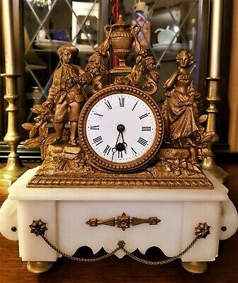 Antique French Gilt & White Stone Figural Mantel Clock.