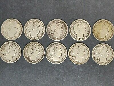 Barber Half Dollar Lot Of 10 Coins G-Vg Details Mixed Dates And Mints