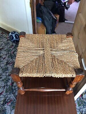 Antique oak stool with woven seat lovely wood