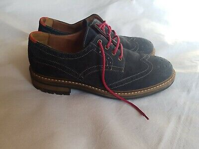 Joules Mens Navy Suede Leather Brogue Shoes With Contrasting Laces Size EU 42
