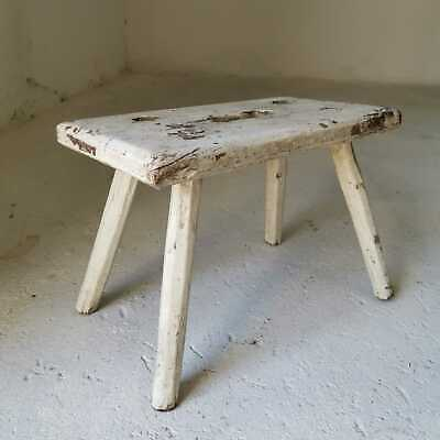 Antique Rustic White Hand-Carved Wooden Milking Stool or Small Table