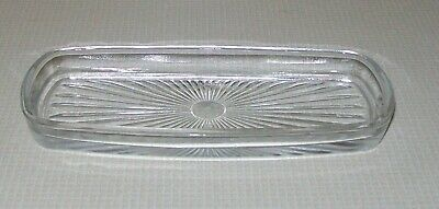 """Vintage MCM Clear Glass Insert For Silver Plated Butter Dish Starburst Design 6"""""""