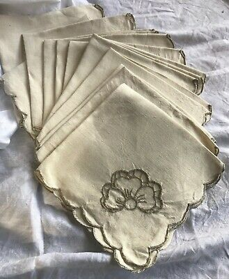 """12 Vintage Irish Linen 15.5"""" sq Napkins cut out embroidery Gorgeous Table"""