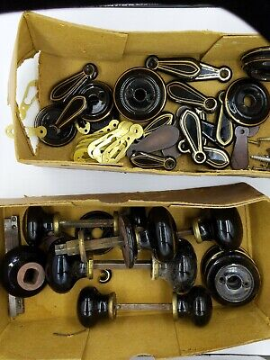 Job Lot Antique Victorian Edwardian Black Ceramic  Door Handles, key hole covers