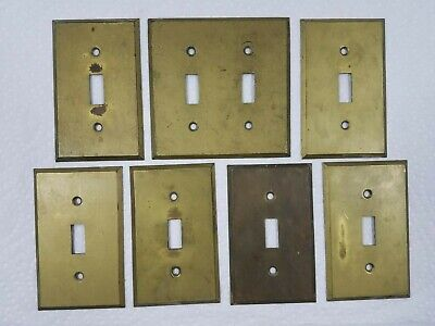 7 - Antique solid brass switch plate covers
