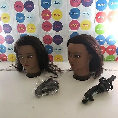 lot of 2 Synthetic Hair Hairdressing Training Heads Model Mannequin With Clamps