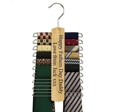 Mens Personalised Engraved Tie Rack Hanger Fathers Day Gift Dad Grandad Daddy