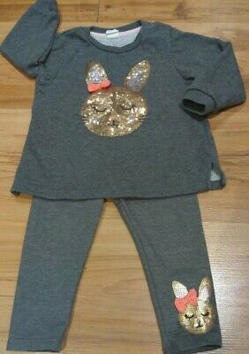 Baby Girl H&M Sequin Bunny Rabbit Cute Outfit Set Glittery Age 9-12months
