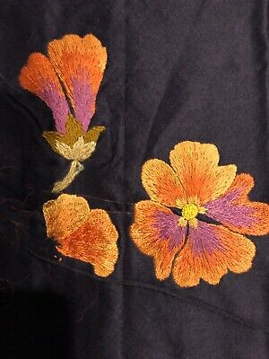 Unfinished Crewel Embroidery LARGE Black Silk ? Exquisite Start