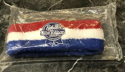 Pabst Blue Ribbon Beer Sweatband Embroidered Head band New In Package Promo Bar