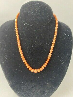 18th/19th C. Chinese Natural Carved Coral Necklace w 14K Gold