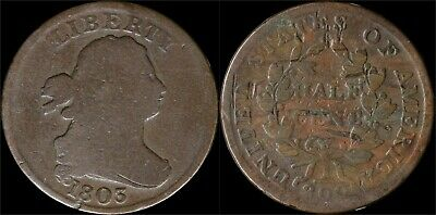 1803 Draped Bust Half Cent 1/2c Old Copper Obsolete US Type Coin Philadelphia