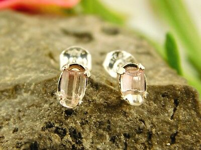 Natural Terminated Uncut Pink Tourmaline Crystal Earrings Sterling Silver Y72