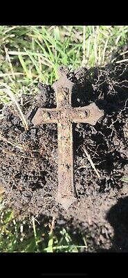 Ancient Bronze  Old Hand Made Cross With Wood Inlays